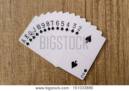 Set of play cards poker casino on desk