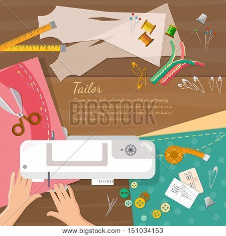 Seamstress work on sewing machine top view professional tailoring vector illustration