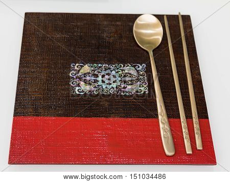 Asian Decorated Tableware With Spoon And Chopsticks