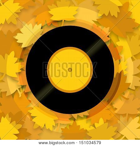 Musical autumn background with yellow leaves and vinyl record