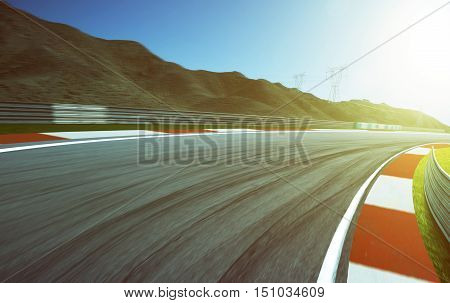 Motion blurred race track . morning scene .