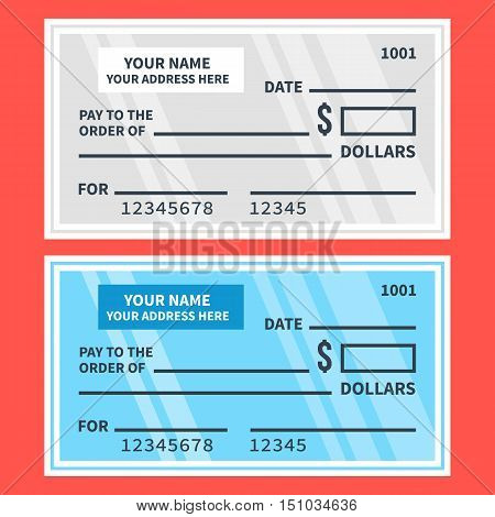 Vector bank checks set. Blank cheques. Flat design illustration