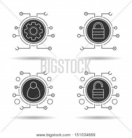 Cyber security icons set. Access denied, network admin and settings, access granted. Digital symbols. Vector white illustrations in black circles