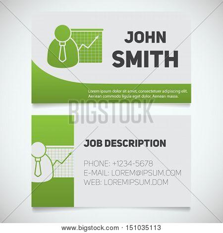 Business card print template with presentation graph logo. Easy edit. Marketer. Stockbroker. Jobber. Analyst. Stationery design concept. Vector illustration
