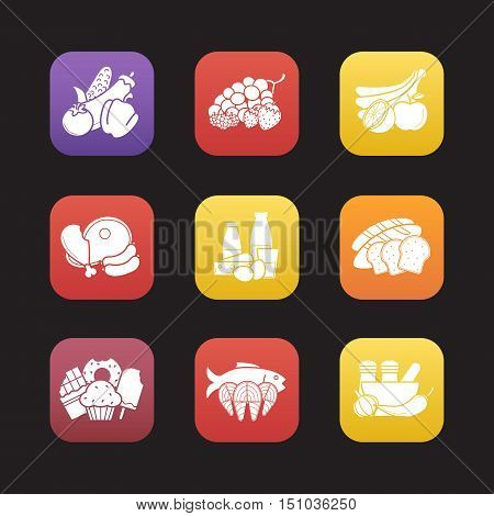 Food groups flat design icons set. Grocery store product categories. Vegetables, berries, fruit, meat, dairy, bread, confectionery, seafood, spices. Web application interface. Vector