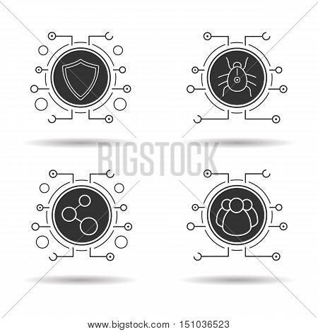 Cyber security icons set. Digital connections, virus program, user group and cyber security shield symbol. Vector white illustrations in black circles