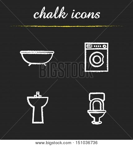 Bathroom interior chalk icons set. Washing machine, bath, toilet, washstand illustrations. Isolated vector chalkboard drawings