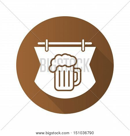 Wooden bar sign flat design long shadow icon. Pub signboard with foamy beer glass. Vector silhouette symbol