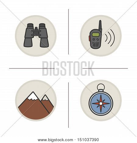 Camping and hiking equipment color icons set. Mountaineering. Binoculars, walkie-talkie, mountains, compass. Isolated vector illustrations