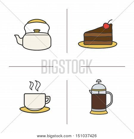Tea and coffee color icons set. Classic kettle, chocolate cake on plate, steaming tea cup, coffee french press. Isolated vector illustrations