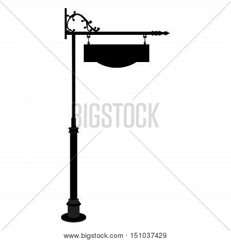 Vector illustration vintage old shop sign. Signage shop sign route hanging information banner retailer. Vintage sign post