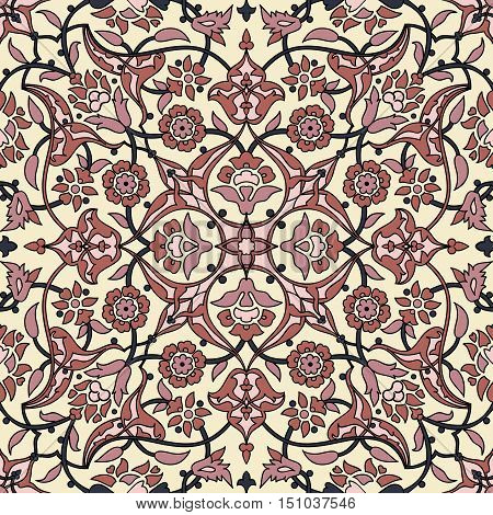 Stylized flowers oriental   retro seamless abstract background vector decoration tile print oriental tribal floral ornament paisley arabesque floral pattern tile vintage