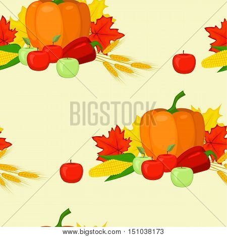 vector seamles background fall harvest pumpkin leaves apples pepper corn ears