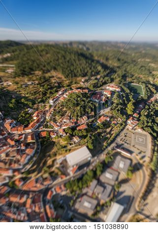 Monchique in mountains of Algarve, View from the sky of the village.