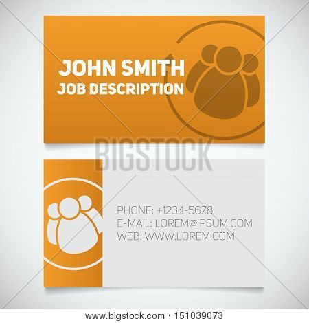 Business card print template with staff turnover logo. Easy edit. HR manager. Employment. Stationery design concept. Vector illustration