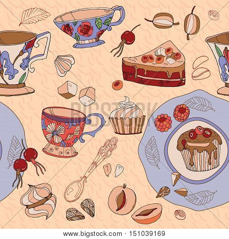 Tea cute seamless pattern saucers cups and sweets hand drawn vector illustration