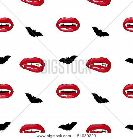 Halloween seamless pattern, vampire sexy lips with fangs and bat.