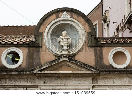 The architectural detail from the Honourable Courtyard in the Castle of Angel in Rome