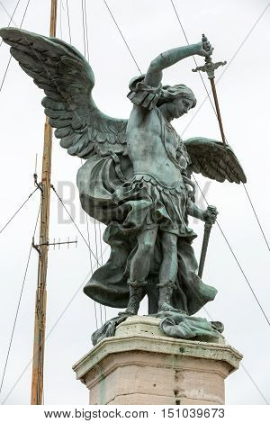 Rome - Bronze statue of Michael the Archangel standing on top of the Castel Sant'Angelo