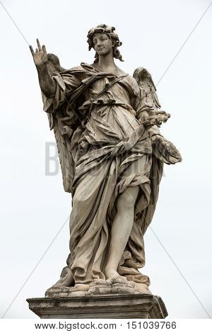 Marble statue of angel from the Sant'Angelo Bridge in Rome Italy designed by Bernini