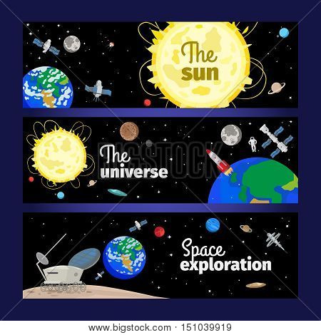 Space theme banners with planets, rocket and stars. Vector illustration