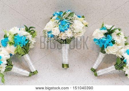 Wedding Bouquet White-Blue Theme for Bride and Bridesmaid