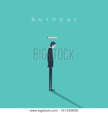 Burnout syndrome concept with a businessman without energy at work. Business vector abstract. Eps10 vector illustration.