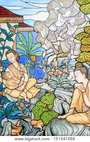 Prachuap Khiri Khan Thailand: March 31 2015 - Stained glass image is the story of Mahajanaka at Tangsai Thai Temple In Prachuap Khiri Khan Thailand.