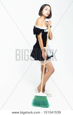 Young Woman In Parlormaid Costume