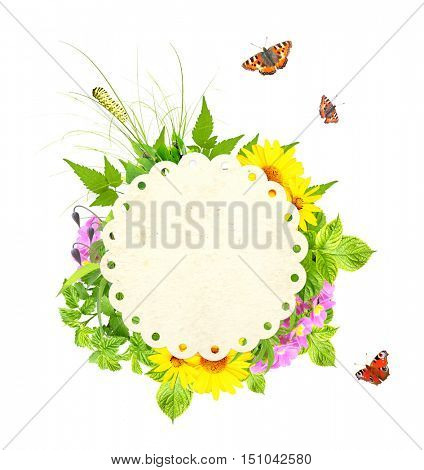 Message of nature. Round paper label, flowers, green leaves, caterpillar, butterfly. Isolated on white background