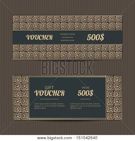 Gift voucher with greek design. Meander gift card template. Luxury coupon discount set.