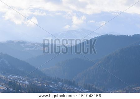 Mountains in Ukraine Carpathians. Morning and fog in Mountains