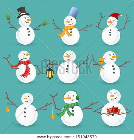 Winter Christmas snowmen collection. Vector illustration. Funny snowman set isolated on white background. Cartoon snowman greeting.