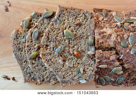 Chrono organic unleavened bread with various seeds pumpkin sunflower flax seeds delicious and very healthy view from above