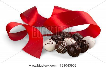 Red Ribbon with Assorted Dark, Milk and White Chocolate Candies / Pralines / Truffles