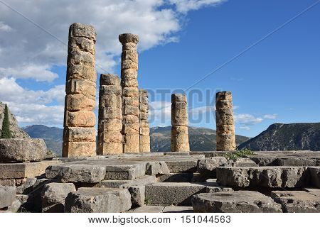 Apollo Temple in Delphi an archaeological site in Greece at the Mount Parnassus. Delphi is famous by the oracle at the sanctuary dedicated to Apollo. UNESCO World heritage