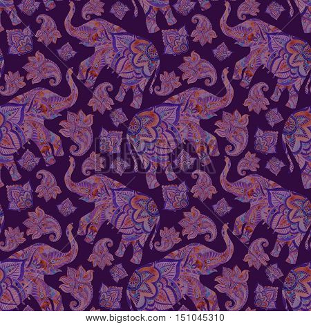 Watercolor ethnic elephant with paisley elements background. Abstract indian seamless pattern with paisley ornament. Hand painted illustration for boho tribal design