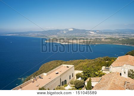 Aerial view of the Gulf of Baratti (Italy, Tuscany), taken from the hill of Populonia. Color image.