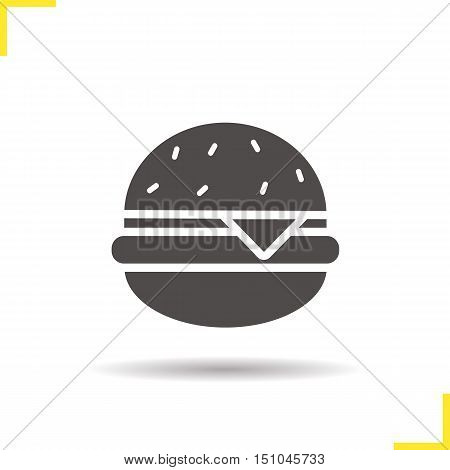 Hamburger icon. Drop shadow fast food silhouette symbol. Cheeseburger. Burger. Negative space. Vector isolated illustration