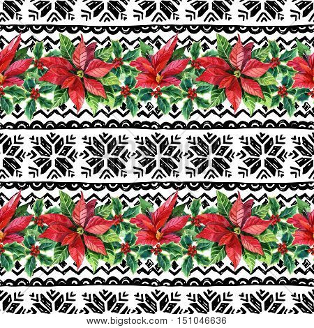 Watercolor ornament with poinsettia flowers and nordic traditional elements. Seamless pattern with hand drawn stylized snowflakes. Hand painted illustration for winter design