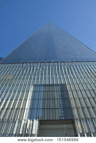 NEW YORK CITY - OCTOBER 14 2014: One World Trade Center in Lower Manhattan. It is the fifth-tallest skyscraper in the world