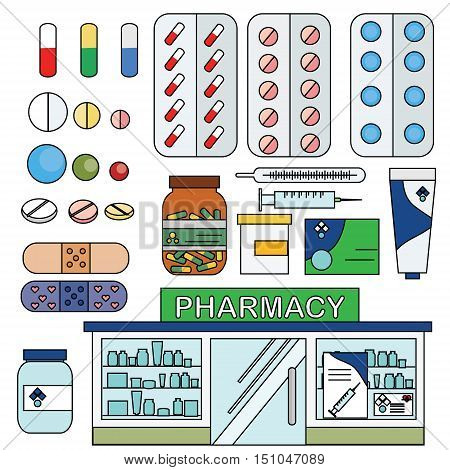 Vector pharmacy drugstore set. Medical store pills drugs and other medical objects design and infographic elements big set