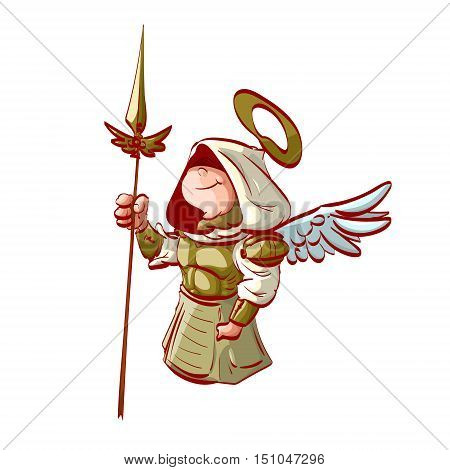 Colorful vector illustration of an archangel with a hood and golden armor and spear.