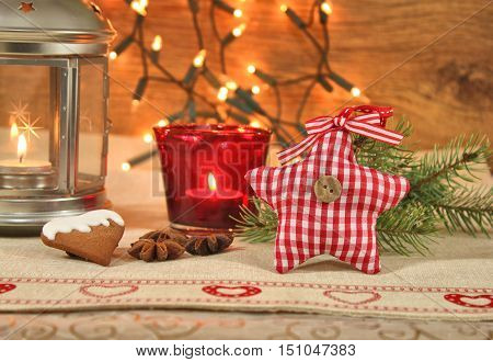 Christmas home cozy decoration background in red color