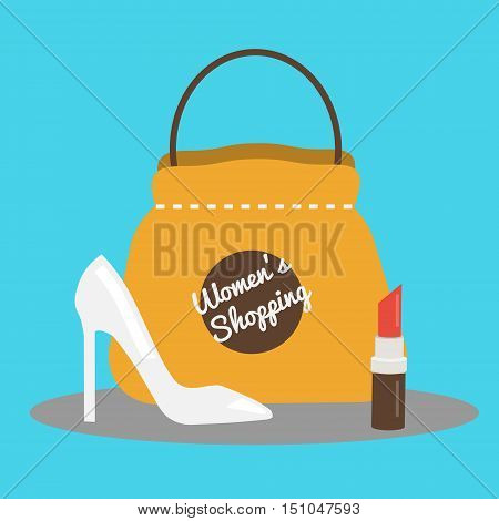 Women's shopping concept vector illustration with pump shoes bag and lipstick. Flat style banner background for social media fashion shops and stores