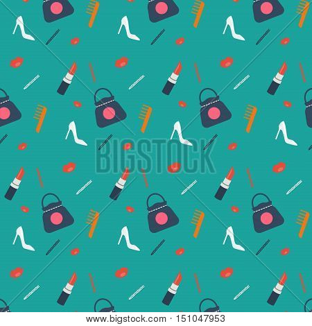Women's shopping concept vector pattern with fashion shoes bag lipstick comb and barrette. Background pattern for social media fashion shops and stores