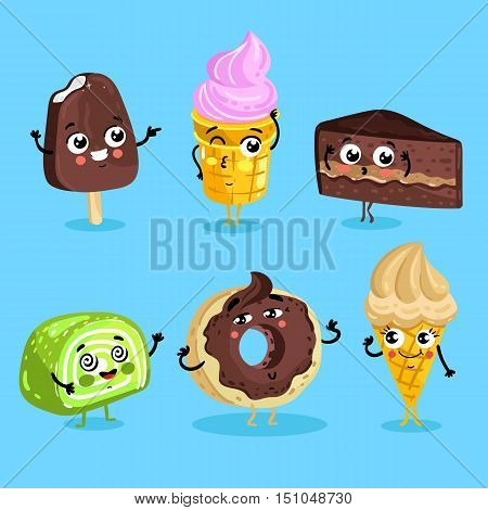 Cartoon funny foods characters isolated vector illustration. Funny foods sweet dessert face icon. Dessert emoji. Funny wafer, laughing cupcake and happy cookies. Cartoon foods emoticon face. Funny food cocept and smiling cute food. Cartoon food.
