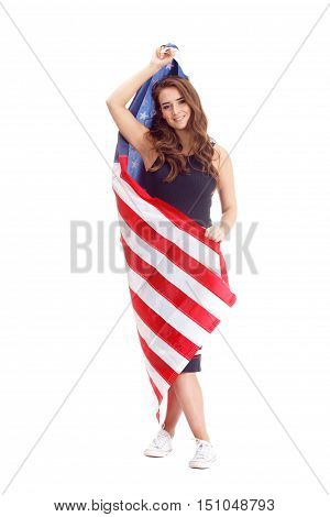Happy Young Woman Holding Usa Flag. Image Isolated