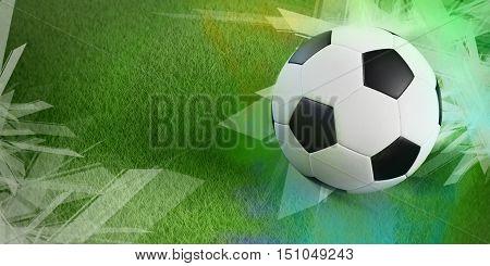 3D illustration poster football soccer championship football ball on green field