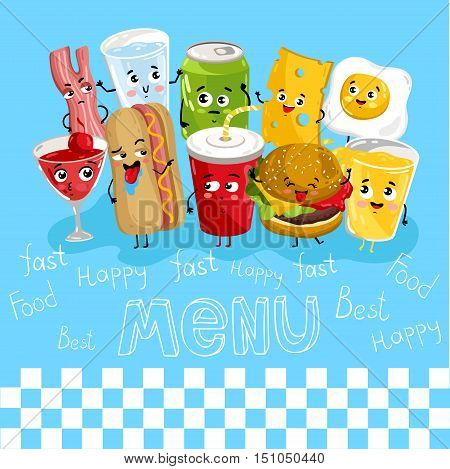 Cartoon funny drink and fast food characters isolated vector illustration. Funny food face icon. Food emoji. Funny juice, laughing hotdog. Cartoon emoticon face of cute food. Funny food concept. Funny food cocept and smiling cute food. Cartoon food.